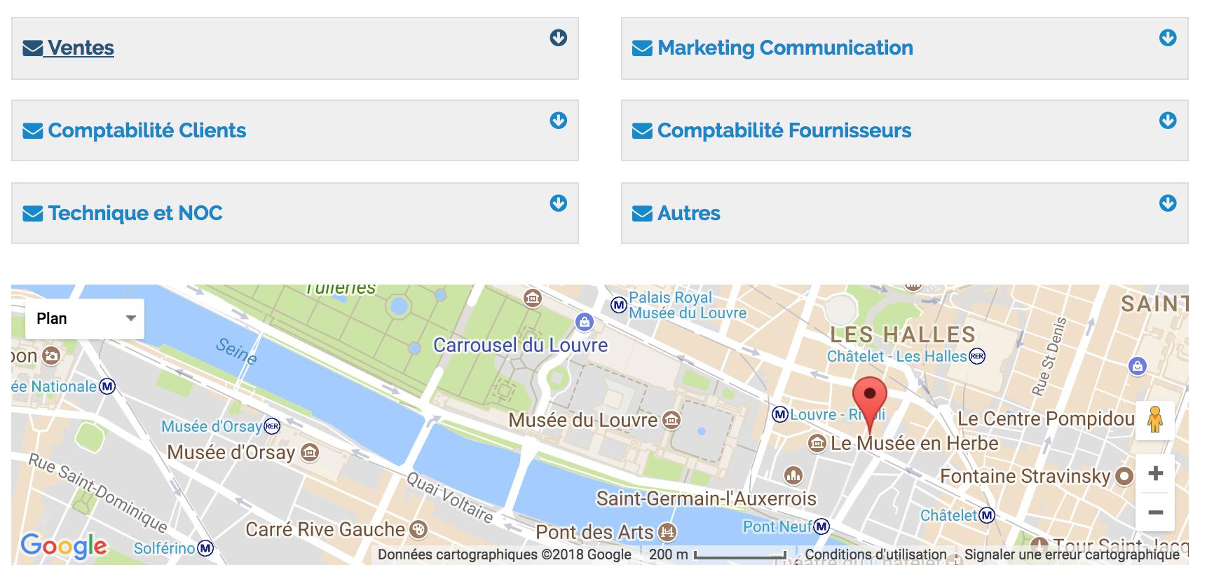 Formulaire contact service vente, service compta, Technique, marketing,